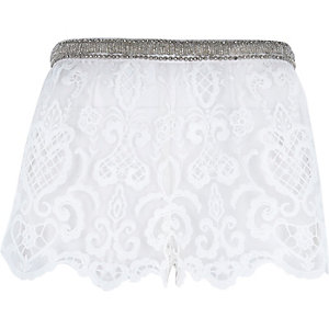 White Pacha lace embellished shorts
