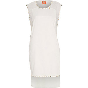 White Pacha stud embellished tunic cover up