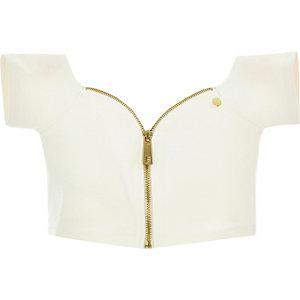 White Pacha bardot zip crop top