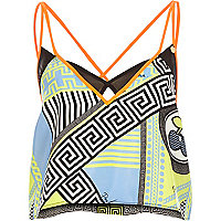 Blue Pacha print strappy cami top
