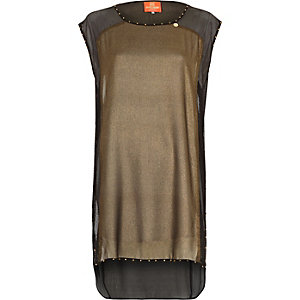 Bronze Pacha studded cowl neck tunic cover up