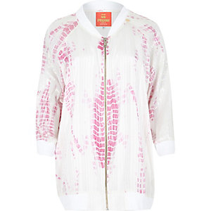 Pink Pacha burnout sequin bomber jacket