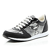 Black snake print lace up trainers