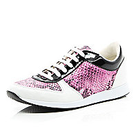 Pink snake print lace up trainers