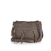 Beige cross body messenger bag