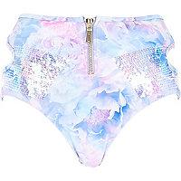 White Pacha rose print zip bikini bottoms