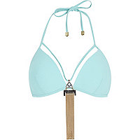Light green Pacha tassel triangle bikini top