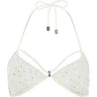 White Pacha crochet embellished bikini top