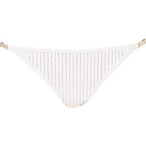 White Pacha embellished bikini bottoms