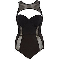 Black Pacha fishnet insert cut out swimsuit
