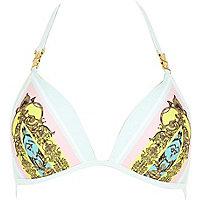 White print padded triangle bikini top