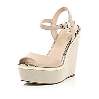 Nude peep toe wedges