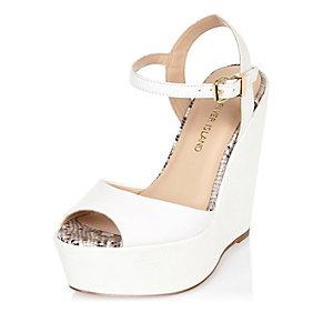White peep toe wedges