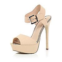 Nude pink platform heels