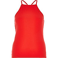 Red ribbed square neck cami