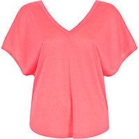 Coral V neck t-shirt