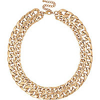 Gold tone double curb chain necklace