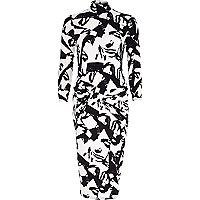 Black graphic print twist front bodycon dress