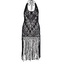 Black Pacha crochet fringed dress