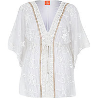 Cream Pacha embroidered kaftan