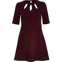 Dark red cut out fit and flare dress