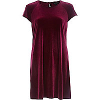 Dark red velvet swing dress