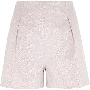 Light purple tailored high waisted shorts