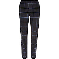 Grey check cigarette pants
