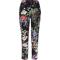 Green floral print cigarette pants