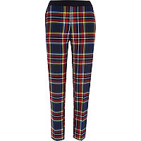 Red tartan check cigarette pants