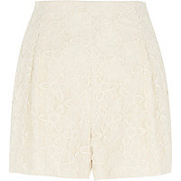 Cream lace tailored shorts