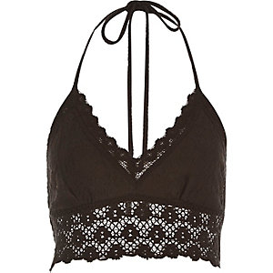 Black Pacha crochet halter neck top