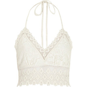 White Pacha crochet halter neck top