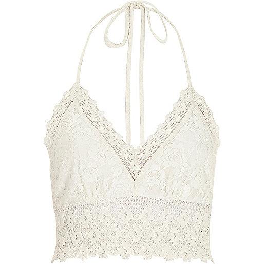 White Pacha crochet halter neck top