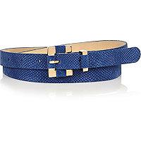 Blue snake textured square buckle belt