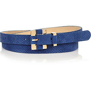 Blue snake textured square buckle belt