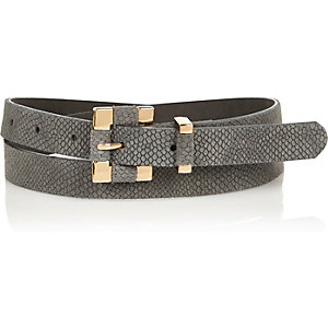 Beige snake textured square buckle belt