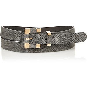 Beige snake textured square buckle belt