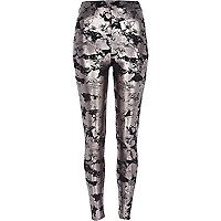 Silver metallic cracked leggings
