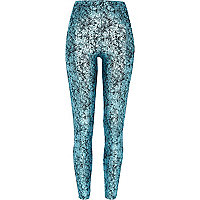 Blue metallic cracked leggings