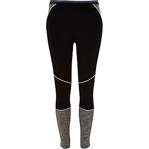 Black block colour ponte yoga leggings
