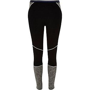 Black block colour ponte yoga leggings