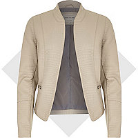 Grey leather-look mock croc jacket
