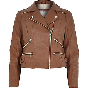 Brown leather-look zip biker jacket