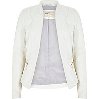 White leather-look fitted jacket