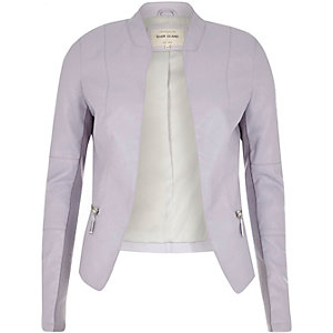 Pale purple leather-look fitted jacket