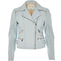 Blue leather-look zip biker jacket