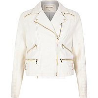 White leather-look zip biker jacket