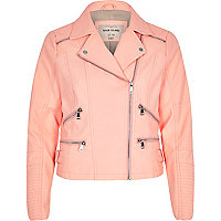 Coral leather-look zip biker jacket