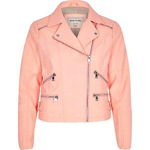 Coral leather-look zip biker jacket